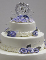 Simply silver. A stunning single layer stacked anniversay cake