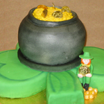3-D Shamrock, pot of gold and leprechaun cake