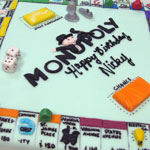 Monopoly gameboard cake in rolled fondant.