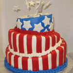 Whimsical fondant cake in stars and stripes.