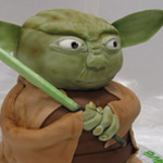Standing Yoda Cake made with rolled fondant